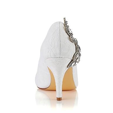 Automne Escarpin Elastique de Basique Printemps rond Bout mariage Talon Chaussures Satin Cristal Femme Chaussures 06489148 Ivoire Aiguille wXREqIqf
