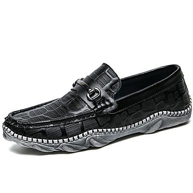 בגדי ריקוד גברים נעליים עור נאפה Leather אביב / סתיו נוחות / מוקסין נעליים ללא שרוכים לבן / שחור / מסיבה וערב