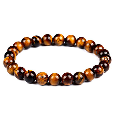cheap Men's Bracelets-Women's Unisex Onyx Tiger's eye Stone Hawks Eye Stone Bead Bracelet Bracelet Good Luck Bracelet Natural Stone Chakra Vintage Bohemian Fashion equilibrio Bracelet Jewelry Brown For Gift Evening Party
