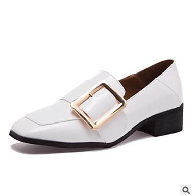 בגדי ריקוד נשים נעליים PU סתיו נוחות נעליים ללא שרוכים עקב עבה בוהן מרובעת / בוהן סגורה לבן / שחור / קאמל