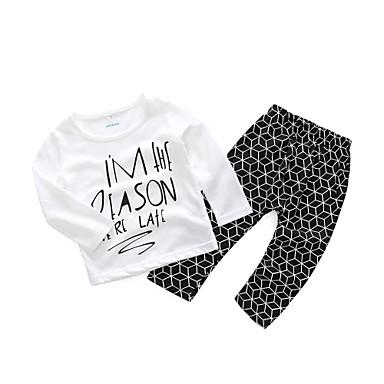 סט של בגדים כותנה שרוול ארוך דפוס פשוט בנים תִינוֹק