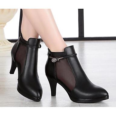 בגדי ריקוד נשים נעליים מיקרופייבר PU סינתטי אביב / סתיו נוחות / מגפיים מגפיים עקב סטילטו שחור / אפור בהיר
