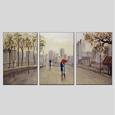 ציור שמן צבוע-Hang מצויר ביד - L ו-scape מודרני כלול מסגרת פנימית / שלושה פנלים / בד מתוח