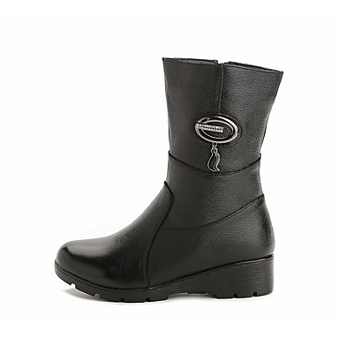 בגדי ריקוד נשים נעליים עור נאפה Leather / עור סתיו / חורף נוחות / מגפיים אופנתיים מגפיים עקב טריז מגפיים באורך אמצע - חצי שוק שחור