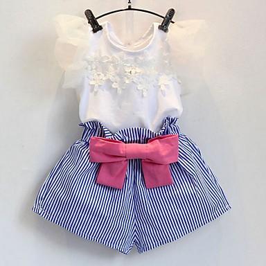 סט של בגדים כותנה קיץ חצי שרוול יומי אחיד פסים בנות חמוד לבן
