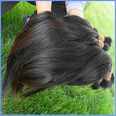 שיער בתולי שיער בתפזורת / מארג שיער / שזירה Remy  משיער אנושי לנשים שחורות / בתולה100% / לא מעובד ישר שיער ברזיאלי 12 אינץ' / 14 אינץ' / 16 אינץ' 400 g יותר משנה אחת שימוש מקצועי