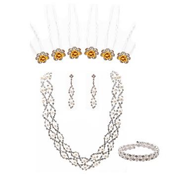 בגדי ריקוד נשים סט תכשיטים - דמוי פנינה, יהלום מדומה ארופאי, אופנתי לִכלוֹל מקלות לשיער סטי תכשיטי כלה לבן עבור חתונה Party