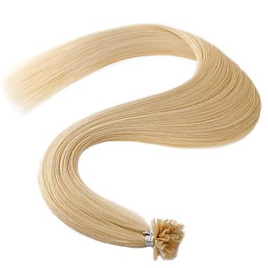 voordelige Extensions van echt haar-Neitsi Samensmelten / U-tip Extensions van echt haar Recht Mensen Remy Haar Indiaas haar Naturel Bruin 1pack Platina Blond