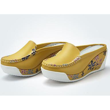 בגדי ריקוד נשים נעליים עור אביב / סתיו נוחות סוגי כפכפים עקב טריז כתום / צהוב / כחול