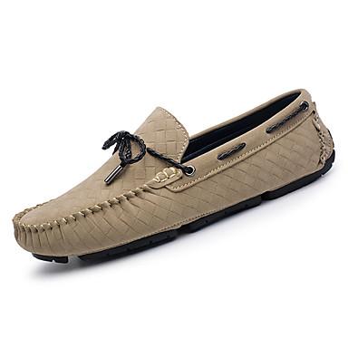 בגדי ריקוד גברים מוקסין עור חזיר / PU אביב / סתיו נוחות נעליים ללא שרוכים שחור / אפור / חאקי