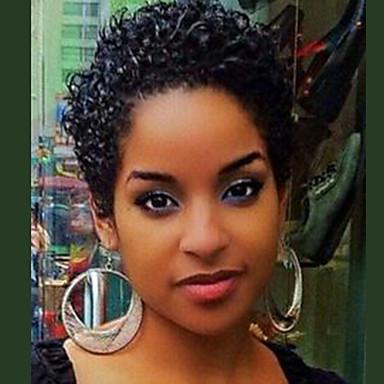 preiswerte Kappenlos-Menschliches Haar Capless Perücken Echthaar Locken / Afrikanische Locken Pixie-Schnitt / Kurze Frisuren 2019 Berry Stil Modisch Natur Schwarz Kurz Maschinell gefertigt Perücke Damen