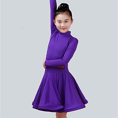 ריקוד לטיני שמלות בנות הצגה ספנדקס סלסולים שרוול ארוך שמלה