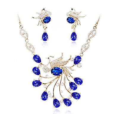 בגדי ריקוד נשים קריסטל סט תכשיטים - ציפוי זהב קלסי, אופנתי לִכלוֹל סטי תכשיטי כלה כחול עבור חתונה מסיבת ערב