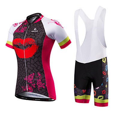 Malciklo Women's Short Sleeve Cycling Jersey with Bib Shorts Red / White Black / Red British Plus Size Bike Jersey Bib Tights Breathable Quick Dry Anatomic Design Ultraviolet Resistant Reflective