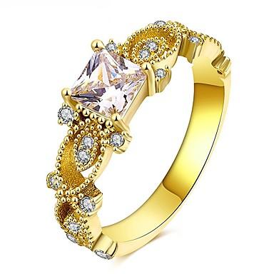 בגדי ריקוד נשים זירקונה מעוקבת טבעת הטבעת - ציפוי זהב פרח וינטאג', אלגנטית 6 / 7 / 8 זהב עבור חתונה / מסיבת ערב