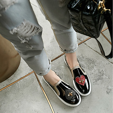 rond et Chaussons Talon Noir Similicuir Printemps Confort Mocassins Billes Femme Automne 06552556 Plat Chaussures Argent Bout D6148 g1SWq7