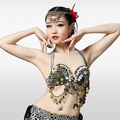 ריקוד בטן חולצות בגדי ריקוד נשים הצגה כותנה פוליאסטר חרוזים סגנון רצועות תחבושות ללא שרוולים נפול חזייה