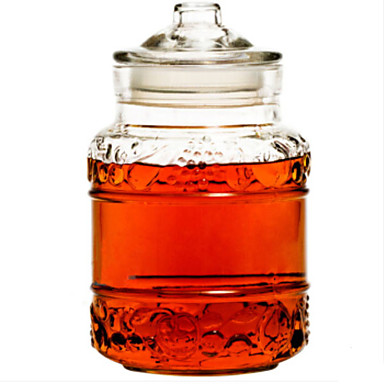 זכוכית גוף שקוף אחסון בקבוקים וקערות 1pc ארגון המטבח