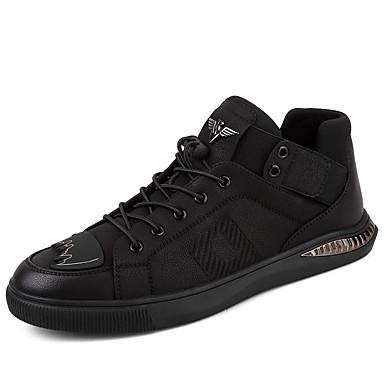 בגדי ריקוד גברים נעלי נוחות עור אביב / סתיו נעלי ספורט מגפונים\מגף קרסול שחור