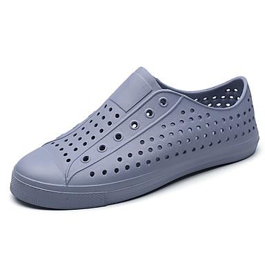 Homens sapatos Couro Ecológico Primavera Verão Conforto Sandálias para Casual Branco Preto Cinzento Azul