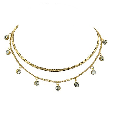בגדי ריקוד נשים שרשראות Layered - פשוט, בסיסי זהב, כסף שרשראות תכשיטים 2 עבור יומי, שנה חדשה