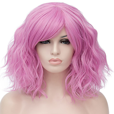 Synthetic Wig Water Wave Blonde Synthetic Hair Red / Blue / Blonde Wig Women's Short Capless / Pink