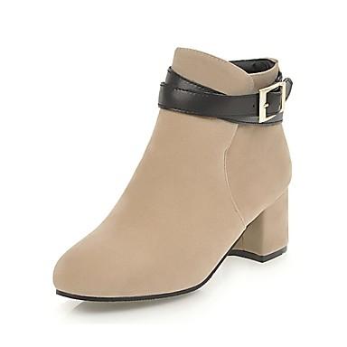 בגדי ריקוד נשים נעליים תחרה אביב / חורף מגפיים מגפיים עקב עבה בוהן עגולה מגפונים\מגף קרסול אבזם בז' / צהוב / אדום