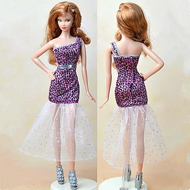 שמלות בחתיכה אחת ל ברבי דול סגול טֶקסטִיל / סטן אלסטי שמלה ל הילדה של בובת צעצוע