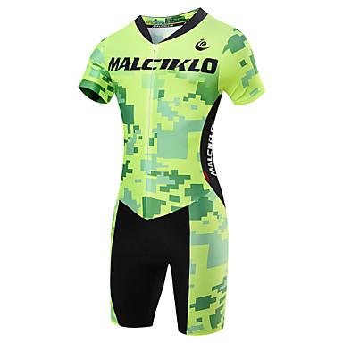 Malciklo Herre Kortermet Triathlondrakt - Lys Grønn Britisk / Geometrisk Sykkel Fort Tørring, Pustende Coolmax® / Lycra