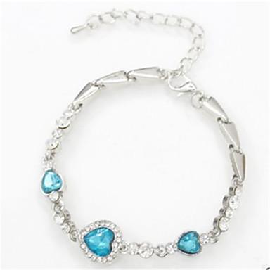 בגדי ריקוד נשים שרשרת וצמידים - קריסטל לב אופנתי צמידים כחול / ורוד / כחול בהיר עבור יומי / ליציאה