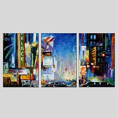 ציור שמן צבוע-Hang מצויר ביד - L ו-scape מודרני בַּד / שלושה פנלים / בד מתוח