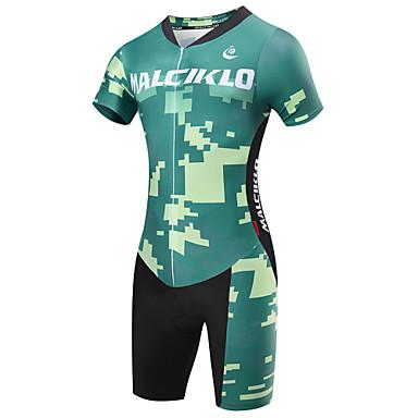 Malciklo Heren Korte mouw Triathlonpak - Groen camouflage Brits Fietsen Sneldrogend, Ademend, Lente Zomer, Lycra
