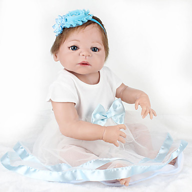 tanie Lalki Reborn-NPKCOLLECTION NPK DOLL Lalki Reborn Dziecko 22 in Silikony całego ciała Silikon Winyl - Jak żywy Śłodkie Wyrób ręczny Bezpieczne dla dziecka Nietoksyczne Słodkie Dzieciak Dla dziewczynek Zabawki