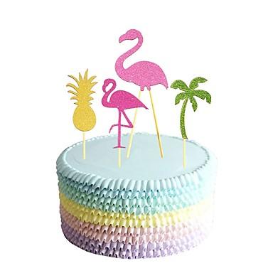 קישוטים לעוגה חתונה / משפחה / חברים זוהר ונוצץ / חיות עץ / במבוק / נייר חתונה / יום הולדת עם צבוע 1 pcs OPP