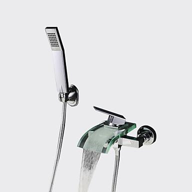 Moderne Gute Qualität Wandmontage Wasserfall Handdusche inklusive Keramisches Ventil Einzigen Handgriff Zwei Löcher Chrom,