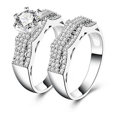 levne Prsteny-Dámské Kubický zirkon Band Ring Stříbrná Vintage Elegantní Fashion Ring Šperky Pro Svatební Zásnuby Obřad 7 / 8 / 9 2pcs