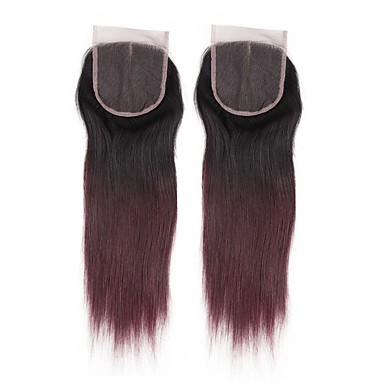 ALIMICE שיער פרואני 4x4 סגר ישר חלק חינם / חלק התיכון / 3 חלק שיער ראמי צבע בהדרגה