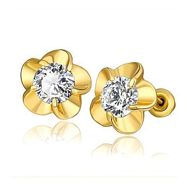 בגדי ריקוד נשים קריסטל עגילים צמודים - פרח אופנתי זהב / כסף / זהב ורד עבור חתונה / יומי