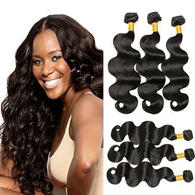 6 צרורות שיער ברזיאלי Body Wave שיער בתולי טווה שיער אדם שוזרת שיער אנושי תוספות שיער אדם בגדי ריקוד נשים