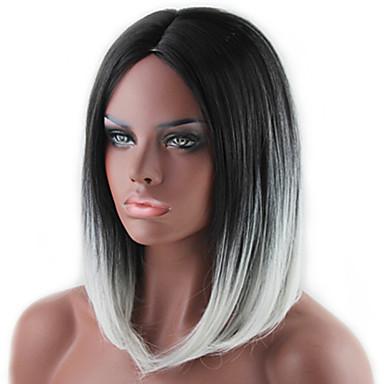 Syntetiske parykker Rett Bobfrisyre Syntetisk hår Ombre-hår / Mørke røtter / Midtskill Grå Parykk Dame Medium Halloween parykk / Karneval