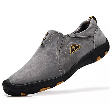 Homens sapatos Couro de Porco Primavera Outono Conforto Tênis Aventura para Ao ar livre Azul Escuro Cinzento Khaki