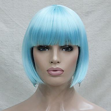 halpa Rooliasu peruukki-Synteettiset peruukit / Pilailuperuukit Suora Tyyli Bob-leikkaus Suojuksettomat Peruukki Sininen Sininen Synteettiset hiukset Naisten Sininen Peruukki Lyhyt Cosplay-peruukki