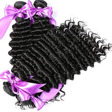 שיער מלזי גל עמוק שיער אנושי תצלום / שיער Weft עם סגירה שוזרת שיער אנושי תוספות שיער אדם