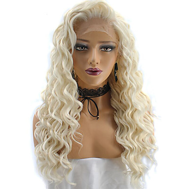 פאות סינתטיות Kinky Curly / גל עמוק בלונד שיער סינטטי שיער טבעי / פאה אפרו-אמריקאית בלונד פאה חזית תחרה בלונד