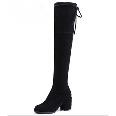 בגדי ריקוד נשים נעליים עור נובוק אביב / סתיו נוחות / מגפיים אופנתיים מגפיים עקב עבה מגפיים באורך מעל הברך שחור