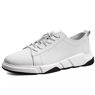 בגדי ריקוד גברים עור נובוק אביב / סתיו נוחות נעלי אתלטיקה הליכה לבן / שחור