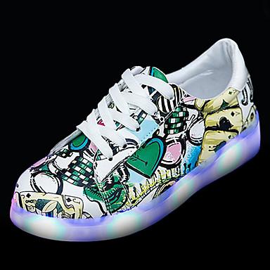 בגדי ריקוד נשים נעליים PU אביב נעליים זוהרות נעלי ספורט שטוח בוהן עגולה שחור / ירוק