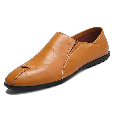 בגדי ריקוד גברים PU אביב / סתיו נוחות נעליים ללא שרוכים שחור / חום