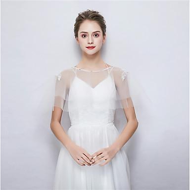 ללא שרוולים טול חתונה / מסיבה\אירוע ערב כיסויי גוף לנשים עם ריינסטון גלימות