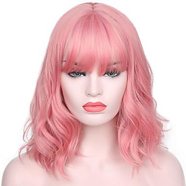 Недорогие Парик из искусственных волос без шапочки-Парики из искусственных волос Волнистые Kardashian Стиль С чёлкой Без шапочки-основы Парик Розовый Розовый Искусственные волосы Жен. Природные волосы / С Bangs Розовый Парик Короткие